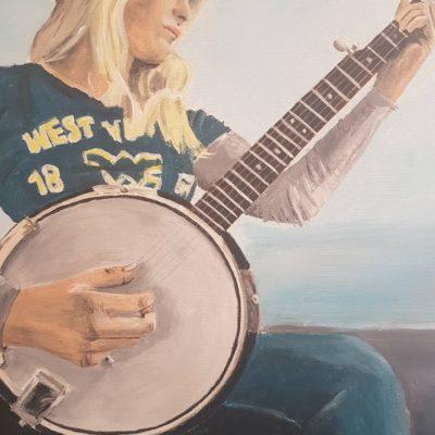"""Banjo"" Auftragsbild, Acryl auf Leinwand 60 x 80 cm"