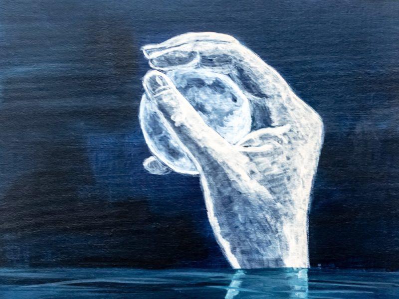 Moon-in-my-hand, 2019, 30 x 40, Acryl auf Malgrund, 349€
