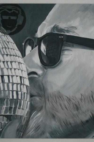 Porträt DJ, 70 x 100 cm, schwarz-weiß, Acryl auf Leinwand