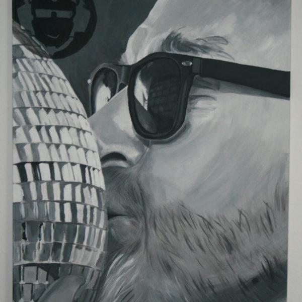 Porträt DJ, Auftragsbild, 70 x 100 cm, schwarz-weiß, Acryl auf Leinwand