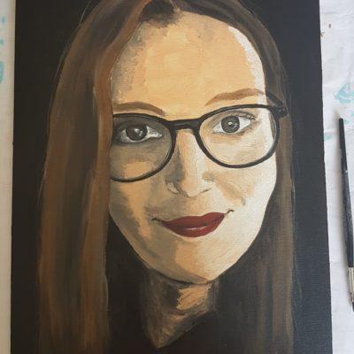 Porträt Auftrag auf Malplatte, Acryl