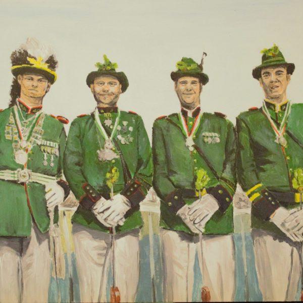 Auftragsbild, Porträt, Schützenzug, Acryl auf Malplatte